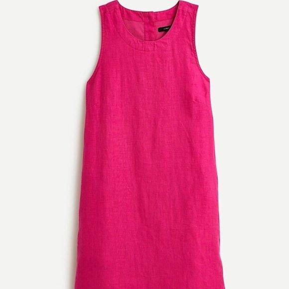 J. Crew Button-Back Shift Linen Dress
